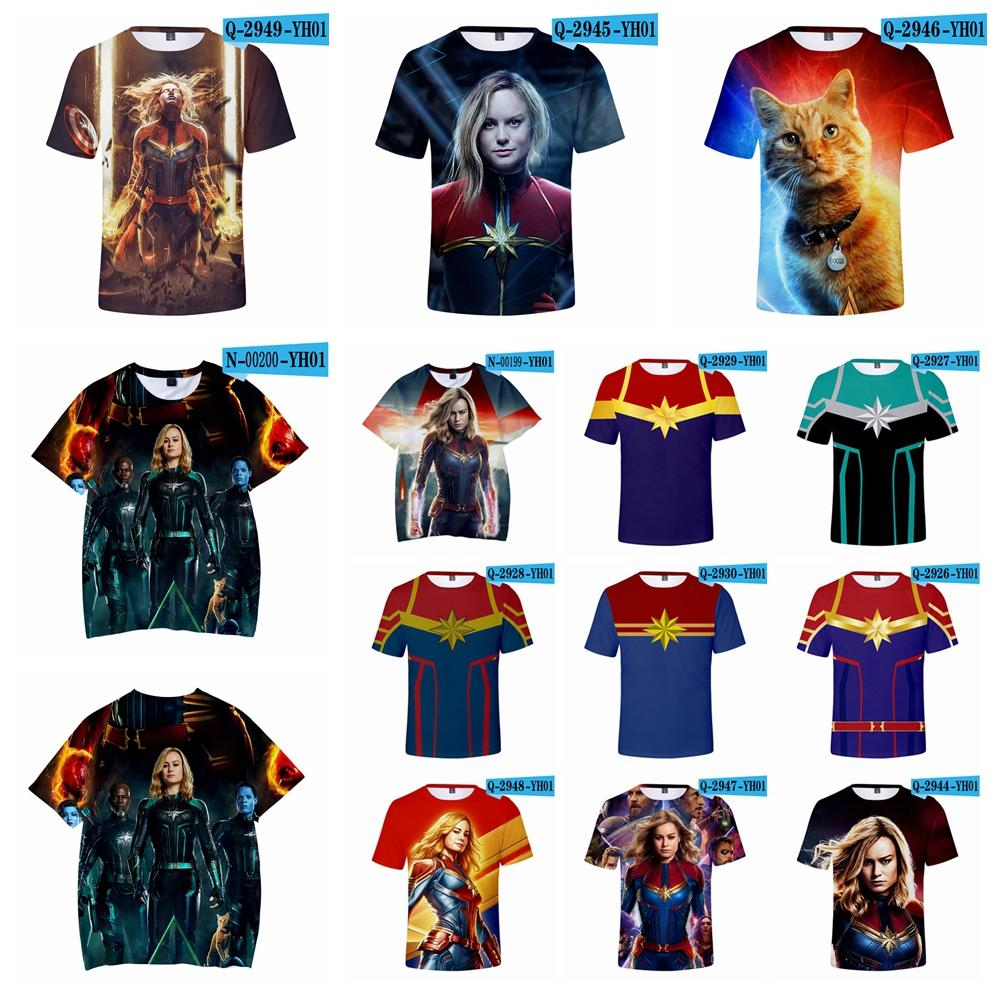 c3c243be2c66 3D Printed T Shirt Carol Danvers Captain Marvel Summer Short Sleeve O Neck  Tees Tracksuit Fitness Tops Teenager Blouse XXS 4XL AAA1911 White T Shirt  Designs ...