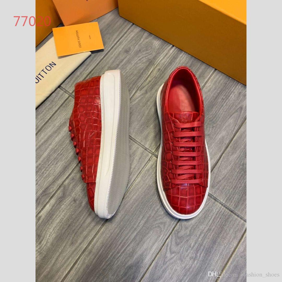 2019 New Style Men S Shoes Best Quality Sneakers Soft Sole Comfortable Top Quality Genuine Leather Crocodile Grain Shoes 4 Colors Size 38 44