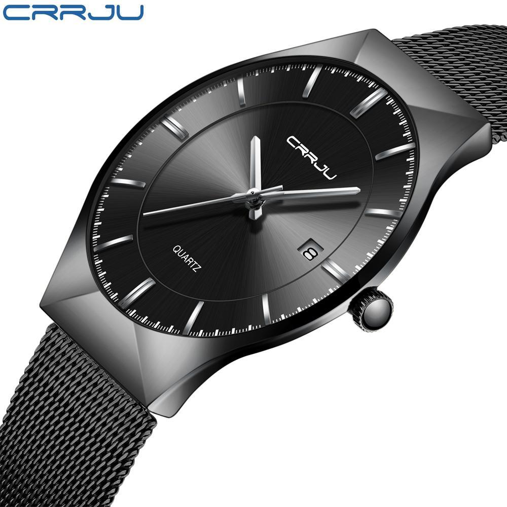 4eceed0e6704 Compre CRRJU Moda Sencilla Y Elegante Marca De Lujo Relojes Hombres Correa  De Malla De Acero Inoxidable Delgado Azul Dial Reloj Hombre Casual Reloj De  ...