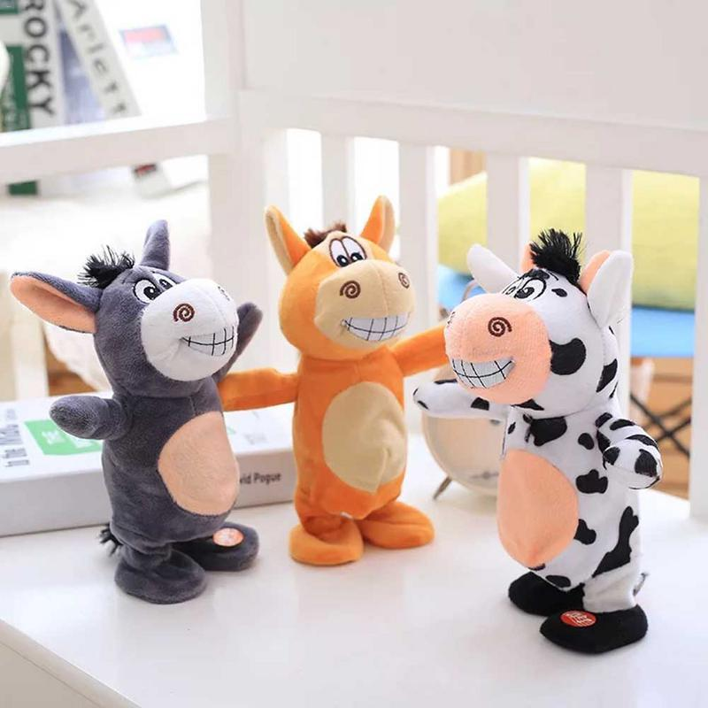 2019 Electric Vibrating Small Donkey Horse Cow Plush Toy For