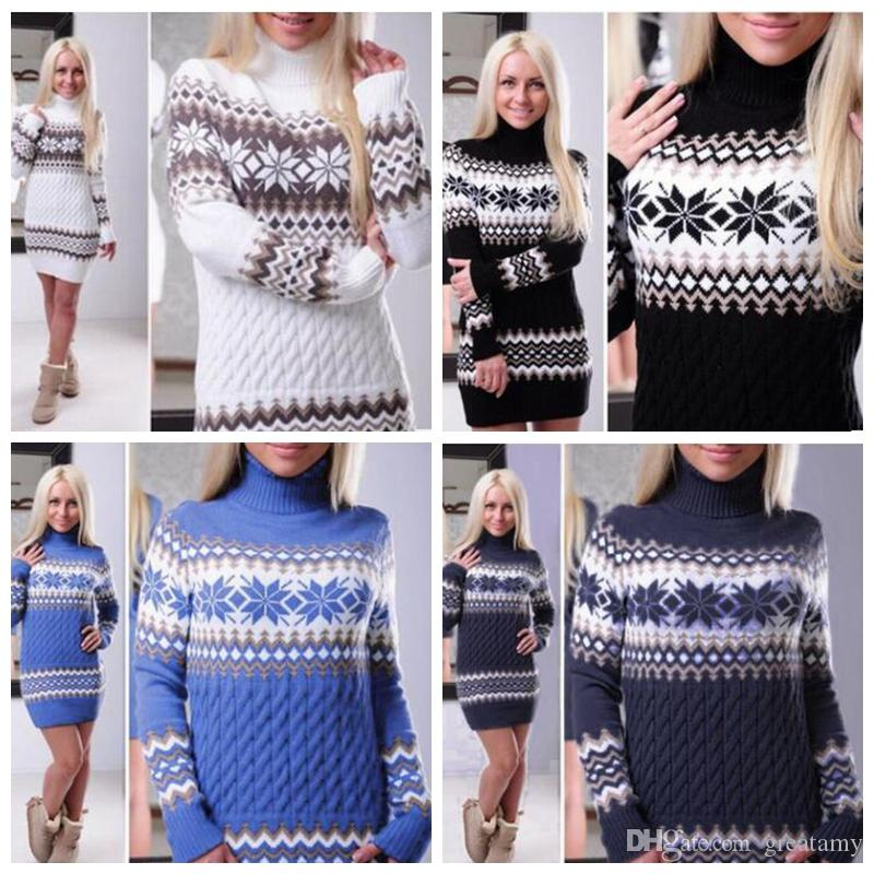 Christma women fashion sweater hoodies pullovers casual knitting cotton dress autumn winter warm sweaters lady clothing