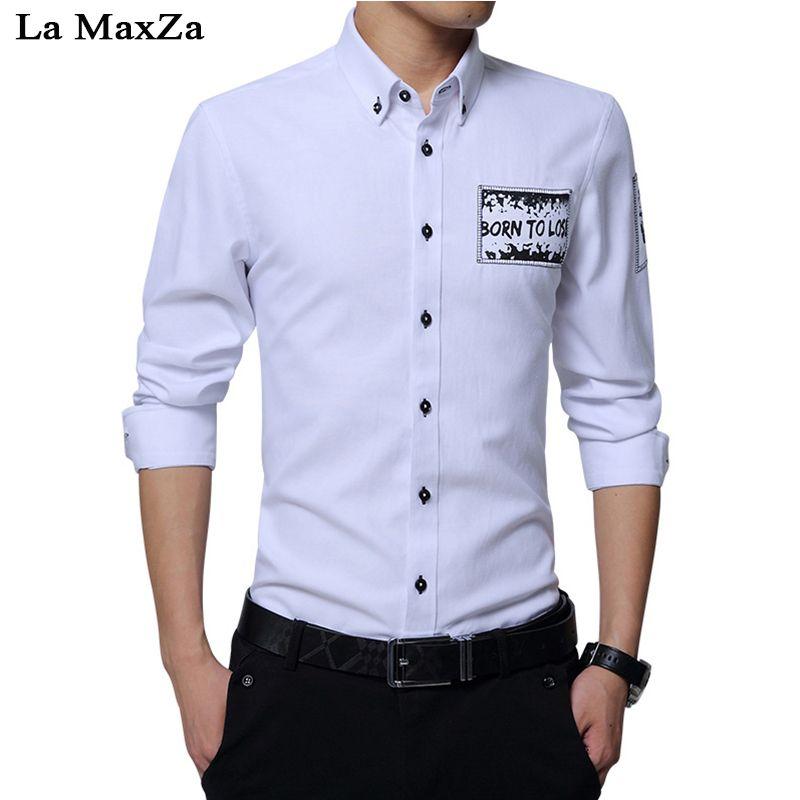 3909917b0989 La MaxZa 2018 Men's Autumn Long Sleeve Shirt Korean Business Casual ...
