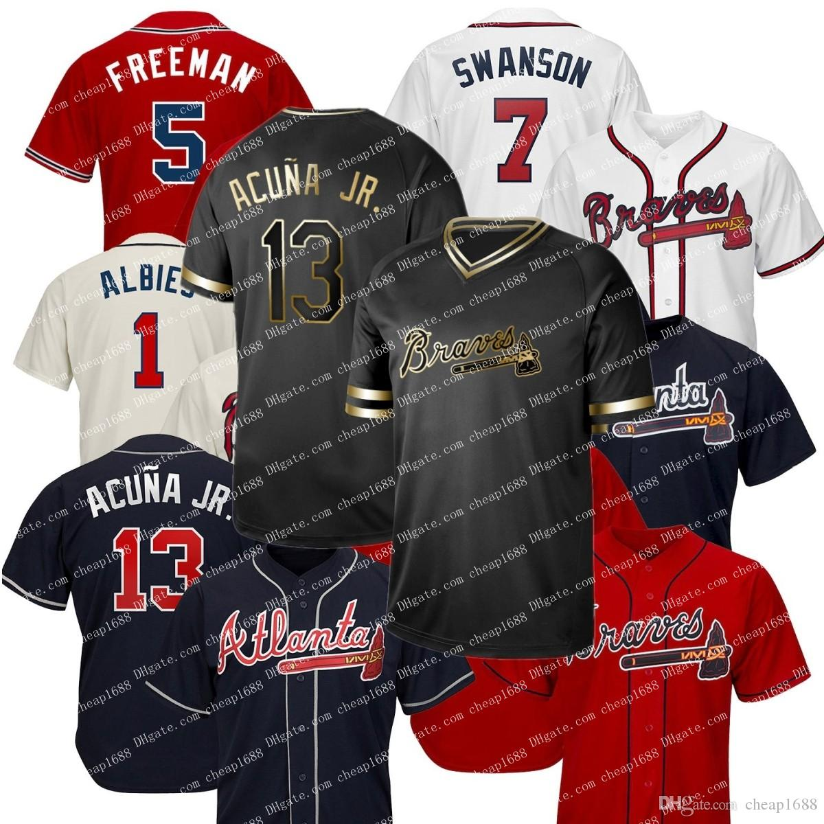 watch 29a6a 0b34e Men Atlanta 2019 Braves Jersey Ronald Acuna Jr. Jr Ozzie Albies Freddie  Freeman Dansby Swanson Chipper Jones Black Gold baseball Jerseys