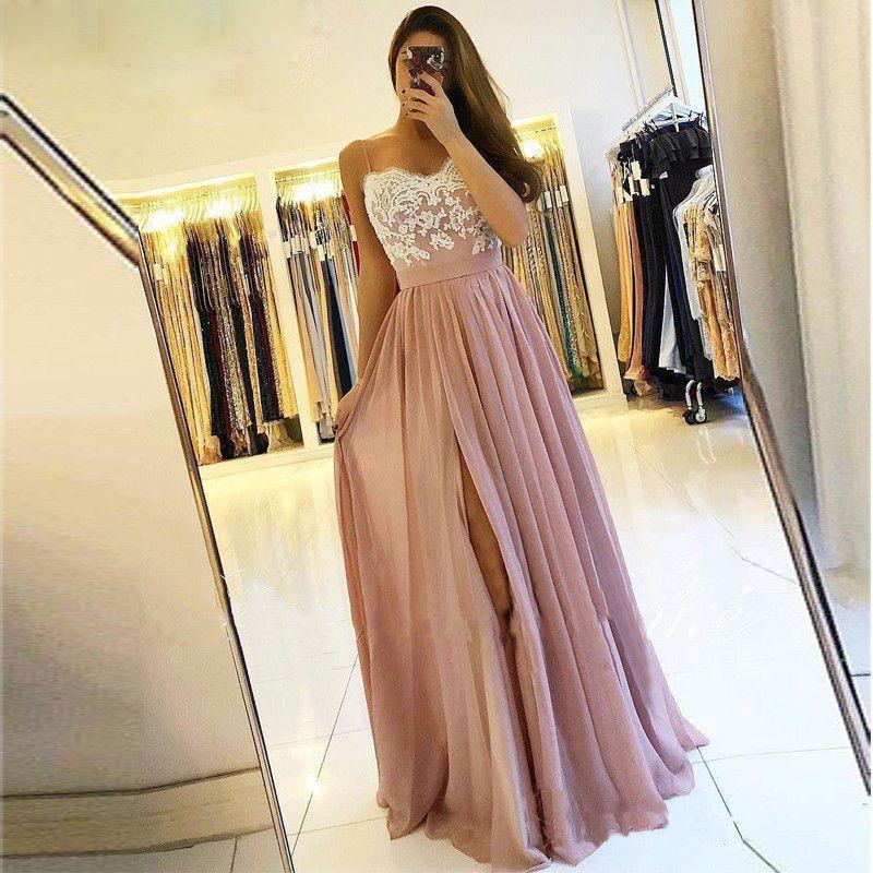 5a3d320bf08 Sexy High Split Evening Dresses 2019 Applique Lace Ruffles Chiffon ...