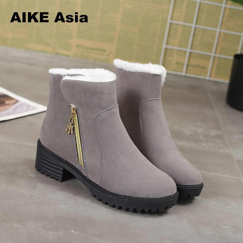 2930365dd Women High Boots Non-slip Waterproof Winter Ankle Snow Platform Shoes With  Thick F ur Botas Mujer Feminina Zapatos Platform Boot