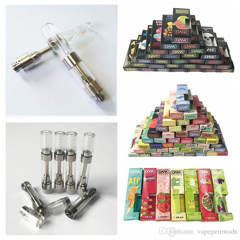 Empty Dank Vapes Pen Cartridges With Black Dank Packaging 1ml Ceramic Coil  Wax Vaporizer G5 MT6 Glass Tank E Cigarettes 510 Thread Battery