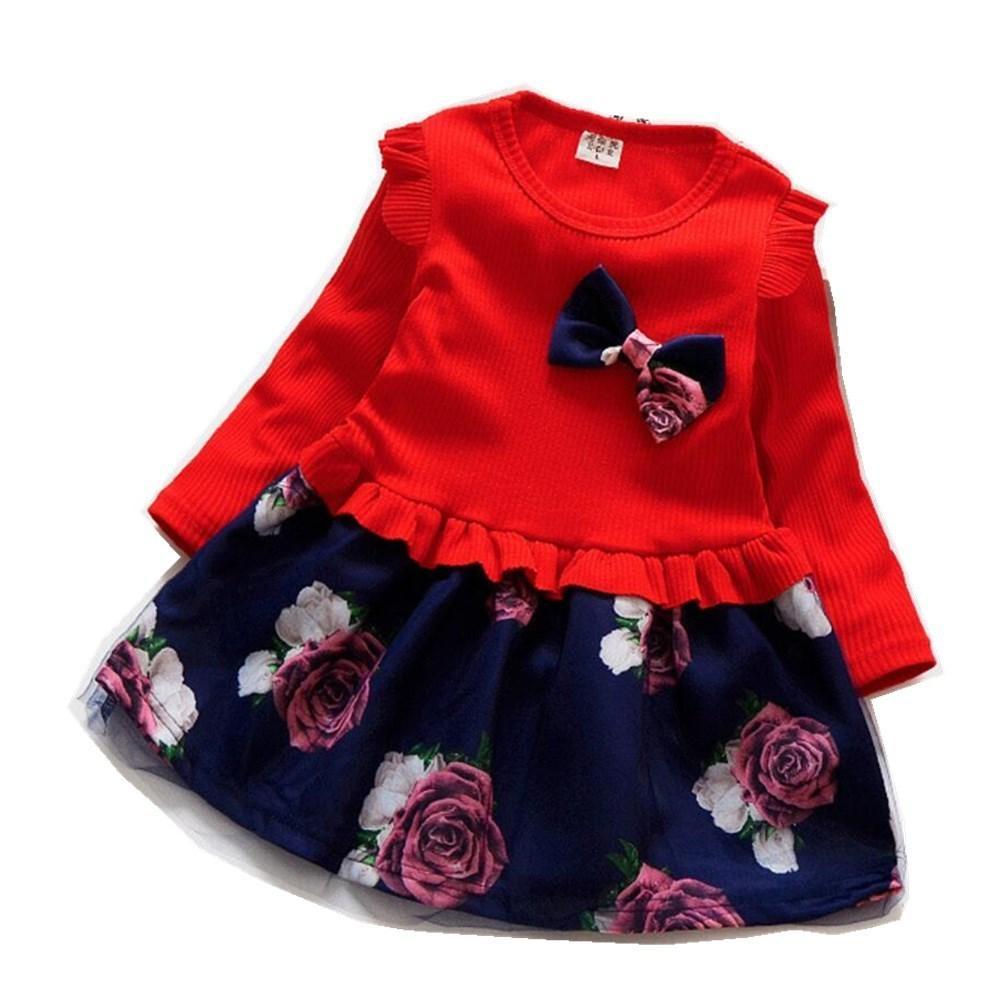 7b5132ea28fe0 Acheter Automne Hiver Fleur Robe En Tricot Pour Fille Vêtements Pull Bébé Fille  Robes Fête D anniversaire Vêtements Enfants Bebe Costume De Noël De  24.47  ...