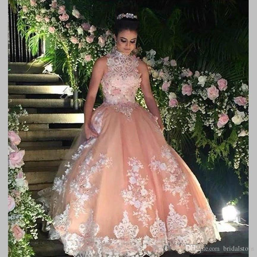 e7d76ffbd9 Pretty Peach Puffy Quinceanera Dresses Ragazza Plus Size Princess Beaded  Appliques Lace Sweet 16 Dress Vintage Ball Gown Prom Party 2018 Quinceanera  Dresses ...
