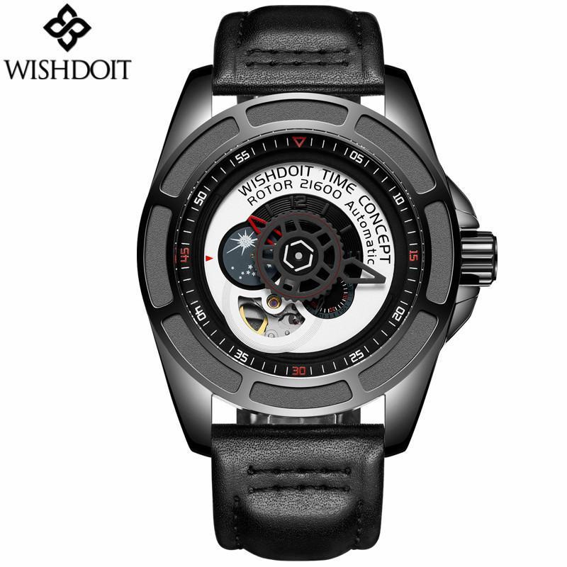 a4a254aaf4d Compre 2017 Homens Esqueleto Tourbillon Fase Da Lua Relógio De Couro Mecânico  Automático Moda Gear Dial Relógios Dos Homens Relógio De Mesa Giratório ...