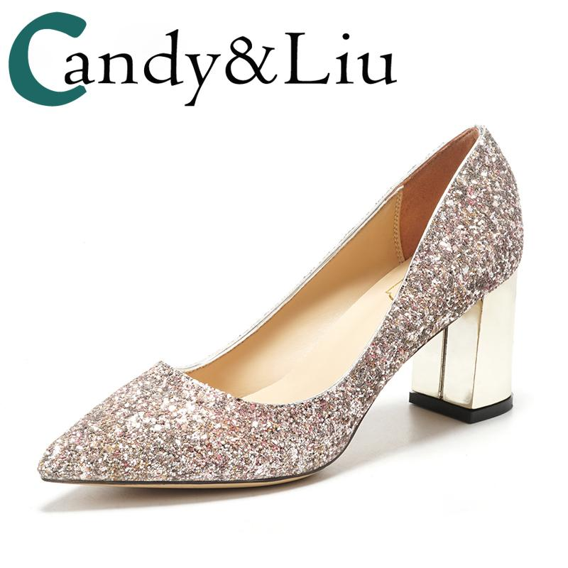 e8886465bdcf Wedding Female Thick Shoes Pink Sequins Bridesmaid Silver Lower Heel Party  Bling 5cm 7cm Comfortable Pumps Bride Monther Shoes Formal Shoes For Men  Formal ...