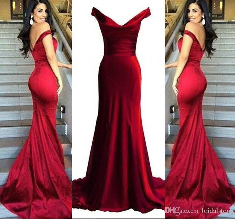 65585e931 Compre Elegante Borgoña Larga Noche Vestidos Formales 2018 Longitud Del  Piso Con Cuello En V Sirena Vestidos De Fiesta Vestidos De Fiesta Largos  Sencillo ...
