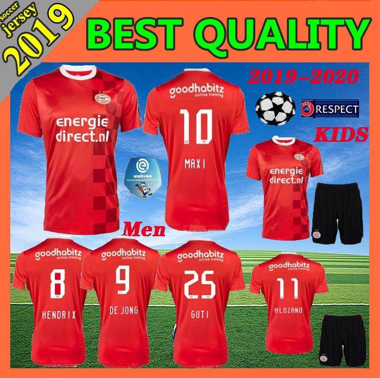 7f6101727 2019 2019 PSV Eindhoven Home Red Men Soccer Jerseys 19 20 PSV Eindhoven  H.LOZANO Erick Gutierrez L.DE JONG BERGWIJN Kids Football Shirt From  Guangxuan201312 ...