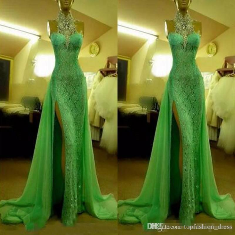 2cb8f05a2d8 Sexy Halter Spring Green Mermaid Evening Dresses Side Slit High Split Lace  Chiffon High Neck Luxury Crystal Beaded Prom Party Gowns Black Long Evening  ...