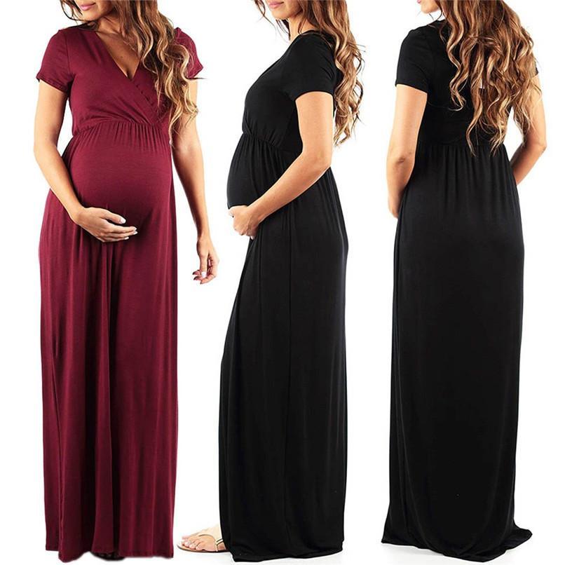 388173314bc97 Satın Al Yaz Hamile Kıyafetleri Moda Kadınlar Gebelik Annelik Katı Kısa  Kollu Uzun Plaj Elbise Rahat Hamile Elbisesi JY26 # F, $26.45 |  DHgate.Com'da
