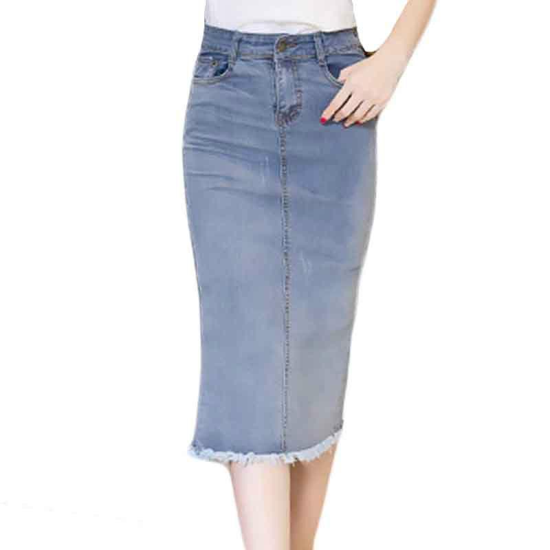 9f137f04f6 Compre 2018 Faldas De Mezclilla Largas Para Mujer Señoras Trabajo De  Oficina Lápiz Jeans Falda De Cintura Alta Más El Tamaño S 2XL Bodycon Sexy Falda  Faldas ...