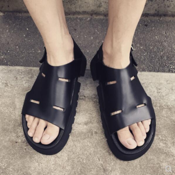 bd3fcc31acd Genuine Leather Mens Gladiator Sandals Shoes 2018 Black Beach Cool Sandals  Mujers Summer Cutout Male Casual Size 44 Discount Shoes Platform Heels From  ...