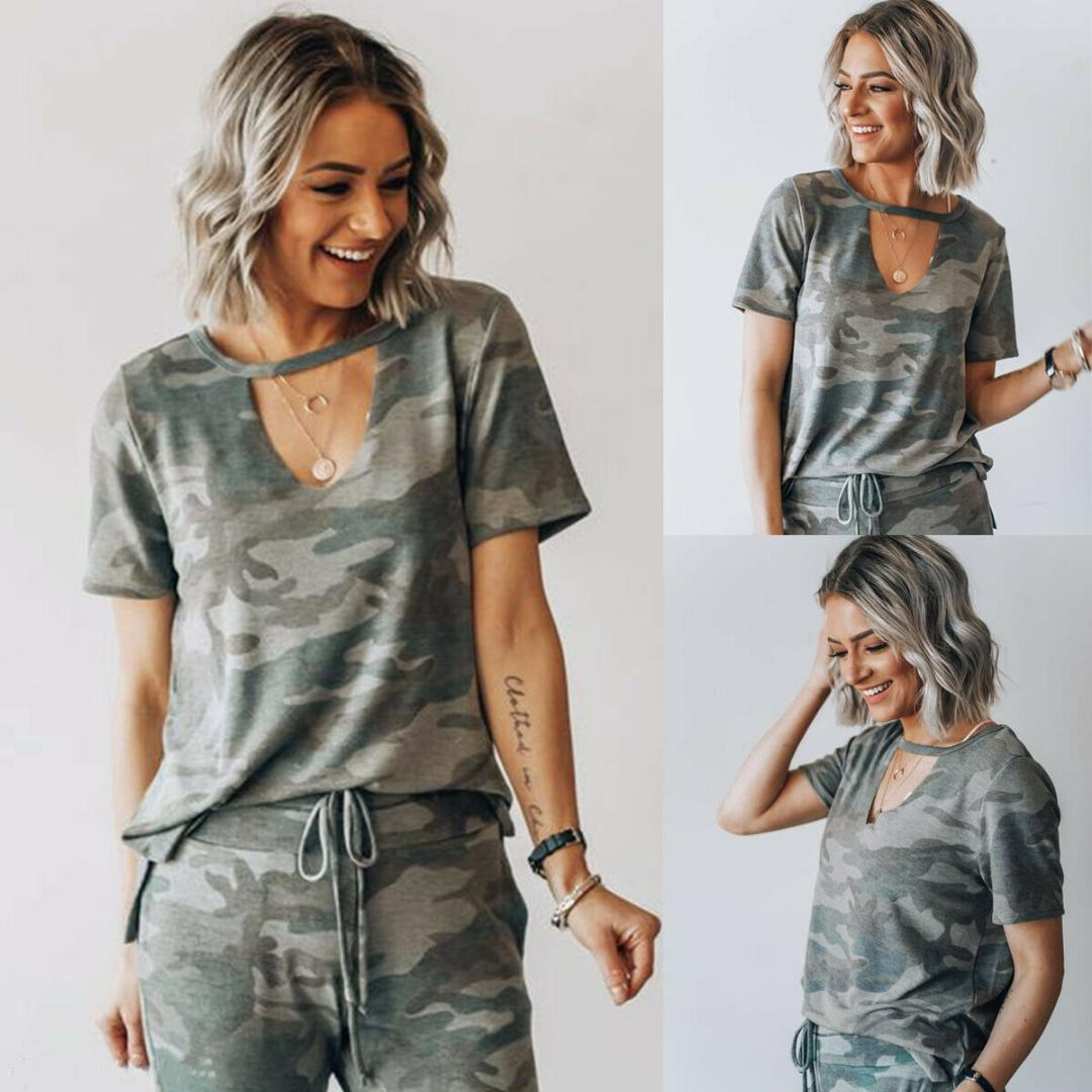 e10caa90426124 Summer Fashion Women Camouflage Print Loose Short Sleeve Tee V Neck Loose  Casual Short Sleeve Tops Ladies T Shirt S XL T Shirt Tee Best Funny T Shirts  From ...