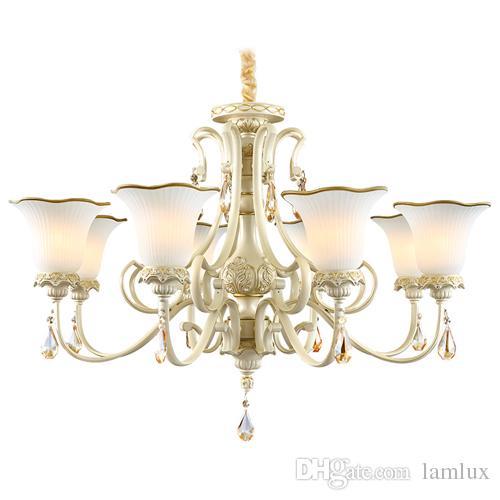 European new chandelier lights luxury living room bedroom restaurant modern  crystal chandeliers simple resin garden retro led pendant lamps