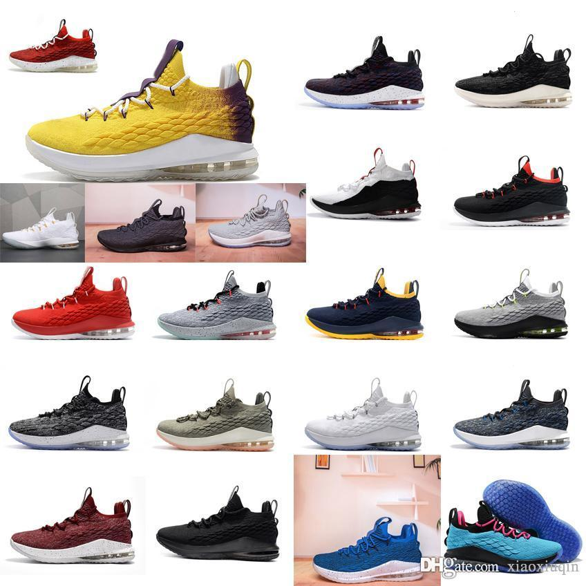 3e332d914c5 2019 Cheap Lebron 15 Low Basketball Shoes Mens Team Red Yellow Blue Black  White Wolf Grey Olive Youth Kids Outdoor Sneakers Tennis With Box From  Xiaoxiuqin