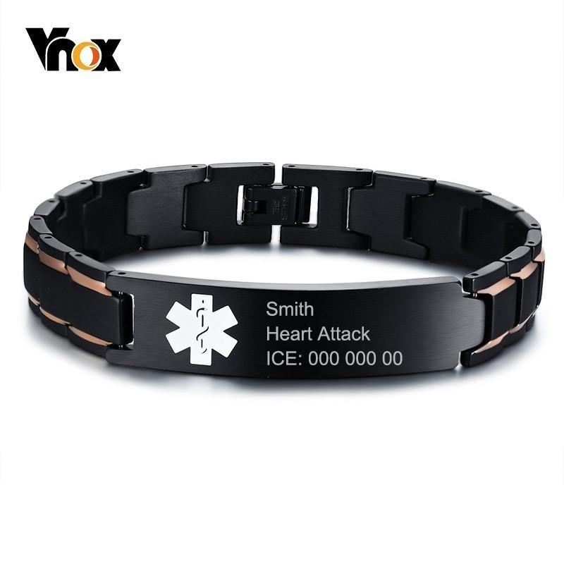 672ced3bc5918 Vnox Custom Free Black Stainless Steel Emergency Medical Alert ID Bracelets  for Men Dad Care Gifts
