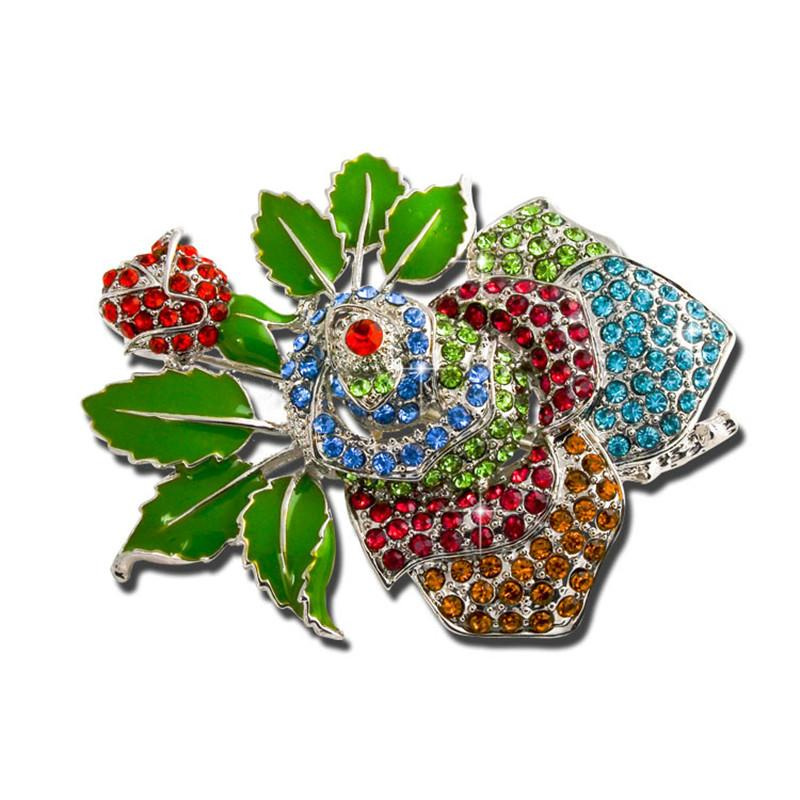 228c6a4167cca 2019 Enamel Pins and Crystal Rhinestone jewelry Accessories Fashion Rose  brooch Hot Sale Wedding for Dressing Broshes X0979