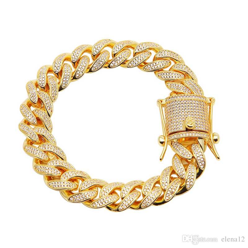 8.5inch voll Iced Out cz Mens Miami Cuban Curb Kette Armband Hip Hop Micro gepflastert Zirkonia Rapper Gold Silber überzogene Luxus-Armreifen
