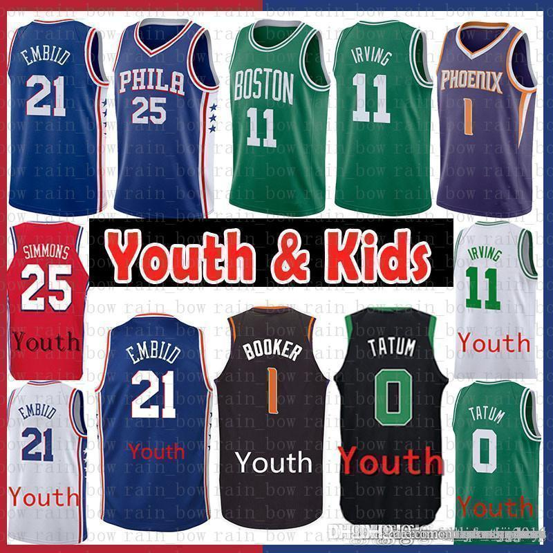 new arrivals be940 b231a 11 Kyrie Youth Kids irving Celtic Jayson 0 Tatum Jersey Phoenix Booker 1  Suns Ben 25 Simmons Philadelphia Joel 21 Embiid 76ers