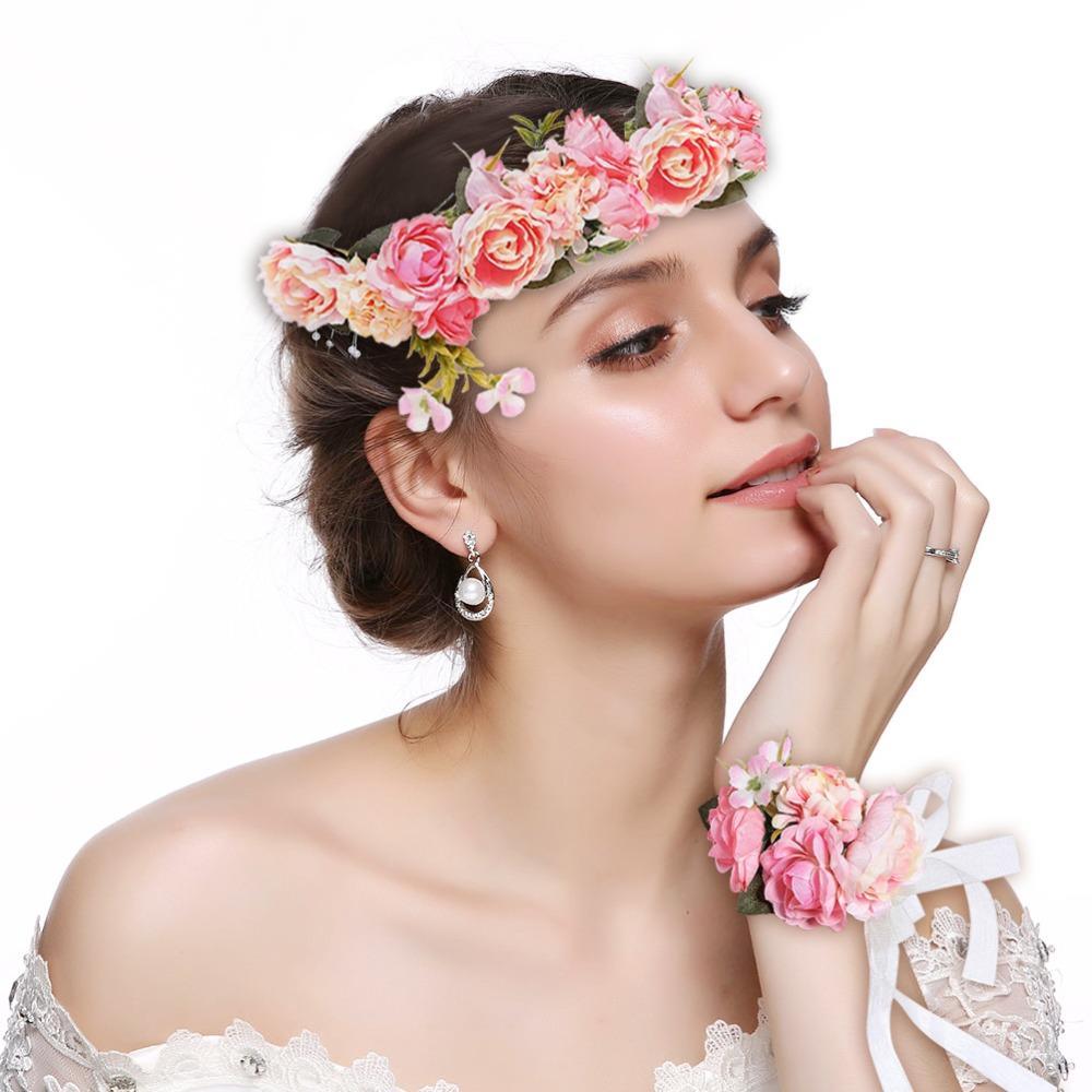 New Fashion Bride Headbands For Women Beach Flower Hair Bands Headband Hair  Accessories Wedding Party Floral Headwear Bow Hair Accessories Hair Bow ... ea27e8739c7