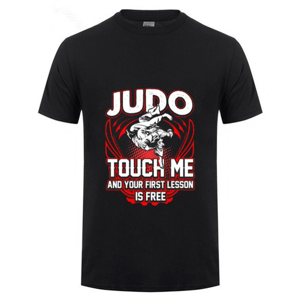 2019 Humor Purple Judo Touch Me And Your First Lesson Is Free O Neck Tee Shirts Short Sleeves Wholesale Discount Cotton Simple Loose