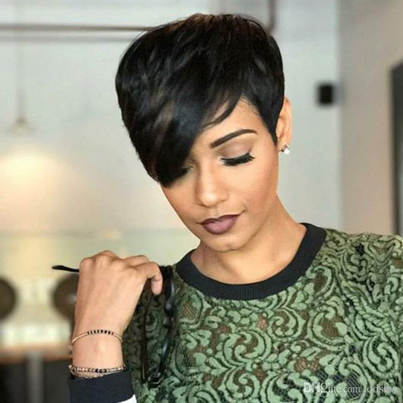 Short Pixie Human Hair Wigs Side Bangs For African American Women Glueless Peruvian Short Pixie Cut Wig 4 6 Inch 130 Density