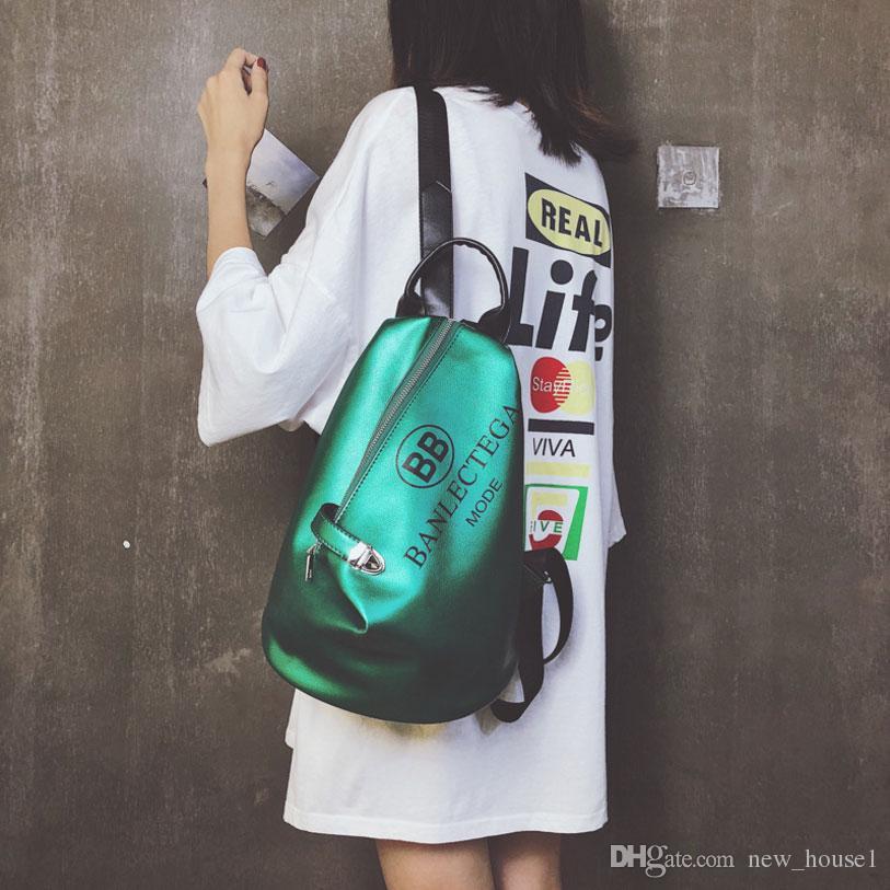6e15c39628 Fashion Hip Hop Female Backpacks PU Leather Shoulder Bag For Girls Letter  Print Sling School Bags Travel Pack Five Colors Laptop Backpacks Travel  Backpacks ...
