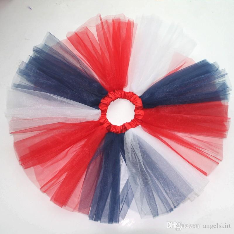 Hot Sale Red White Navy Blue 4th Of July Party Tutus Kids Girls Tutu Skirt
