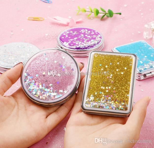 wholesale Mini Pocket Cosmetic Mirror Fashion Exquisite Shining Makeup Mirrors Compact Beauty Double-sided Mirror Magnifier mirror