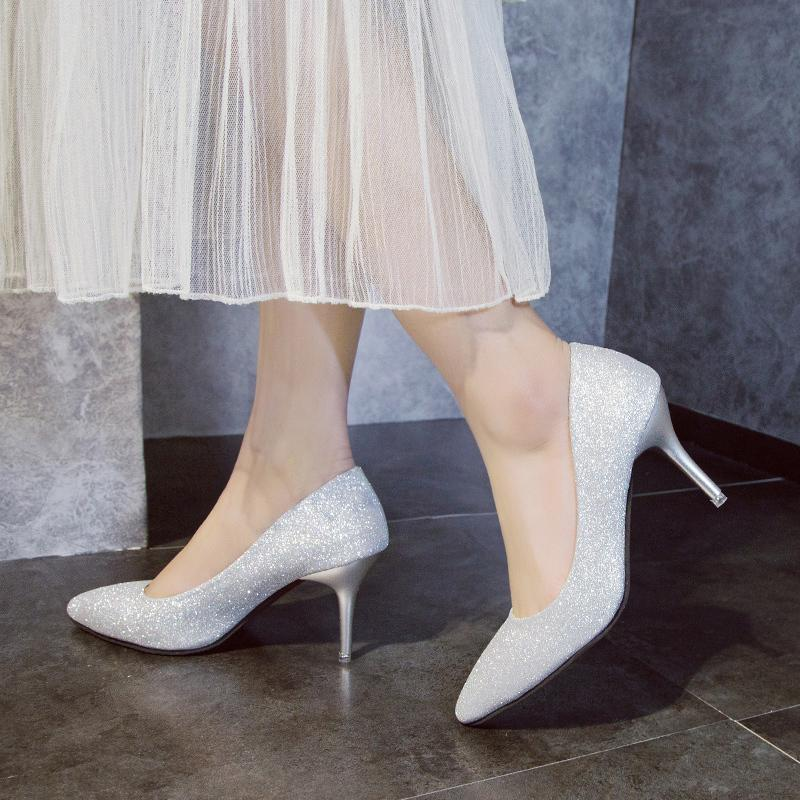 d0a9e9865c35a Designer Dress Shoes Women Bridal High Heels Wedding Bling Dress Woman Gold  Silver Pumps Ol Office Ladies Zapatos Mujer N7107 Silver Heels Dress Shoes  From ...