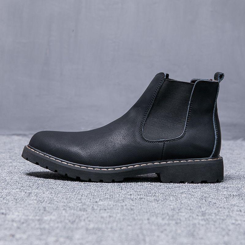 2019 NEW Size 38 45 Chelsea Men Boots Winter Shoes Black Split Leather Boots  Mens Footwear Warm Plush Fur Winter Snow Boots For Men Mid Calf Boots  Womens ... eae4968316b9