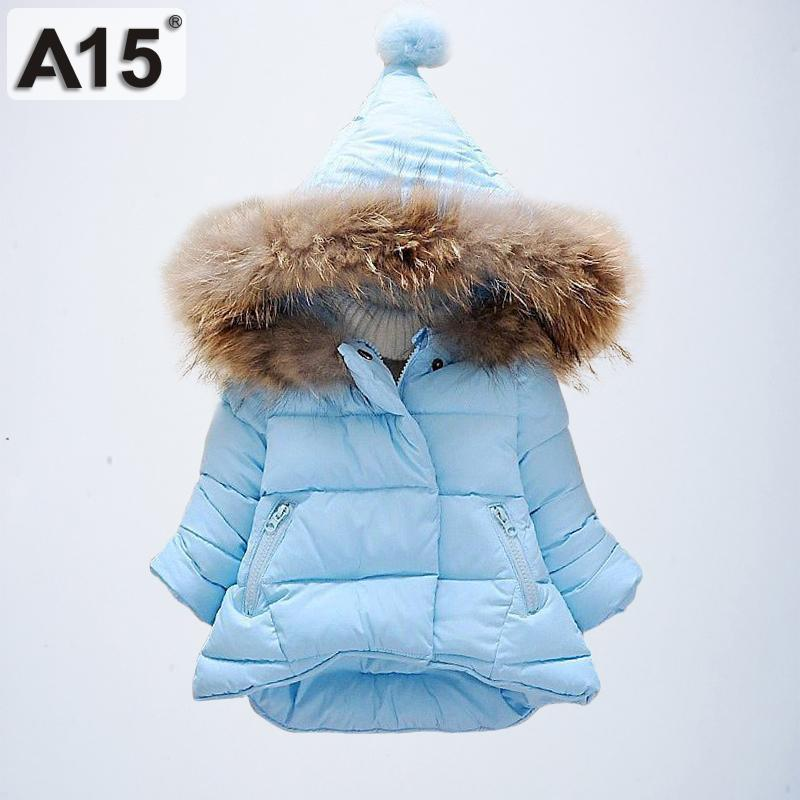 039bfbd85850 A15 2019 Baby Girls Winter Coats Hooded With Fur Toddler Clothes ...