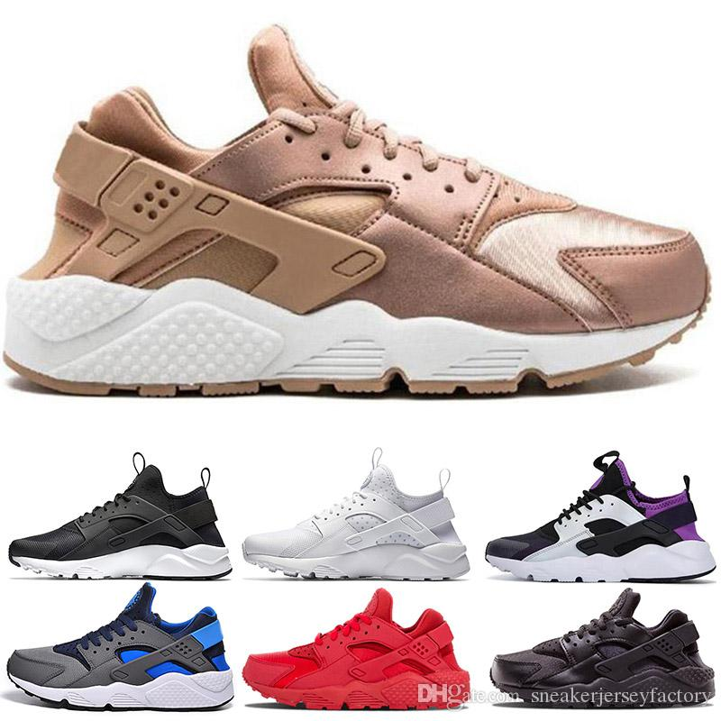 newest 96040 37384 2019 Huaraches Shoes 1.0 4.0 Mens Womens Run Shoe Rose Gold Pink Triple  White Black Classic Huarache Trainers Sneakers Sports Shoe