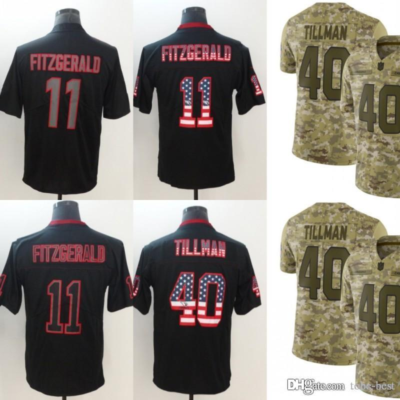 f42577ec Arizona Jerseys 11 Larry Fitzgerald 40 Pat Tillman Cardinals 2018 Salute to  Service USA Flag Fashion Impact Lights out Black Camo Limited