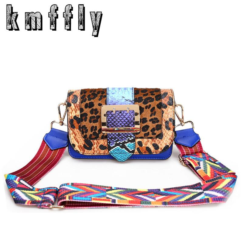 Fashion Leopard Women Shoulder Bags With Color Shoulder Strap High Quality Messenger Bag Luxury Sac A Main Flap Crossbody Bags Y190606