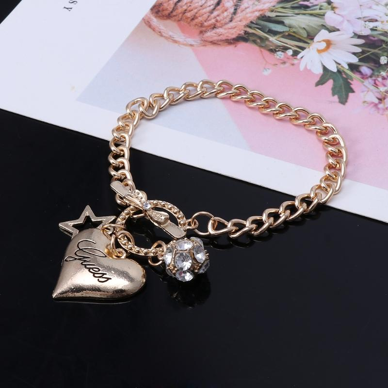 Stainless Steel Heart Pendant Crystal Women Charm Bracelets with Toggle Clasp Exquisite Bracelet