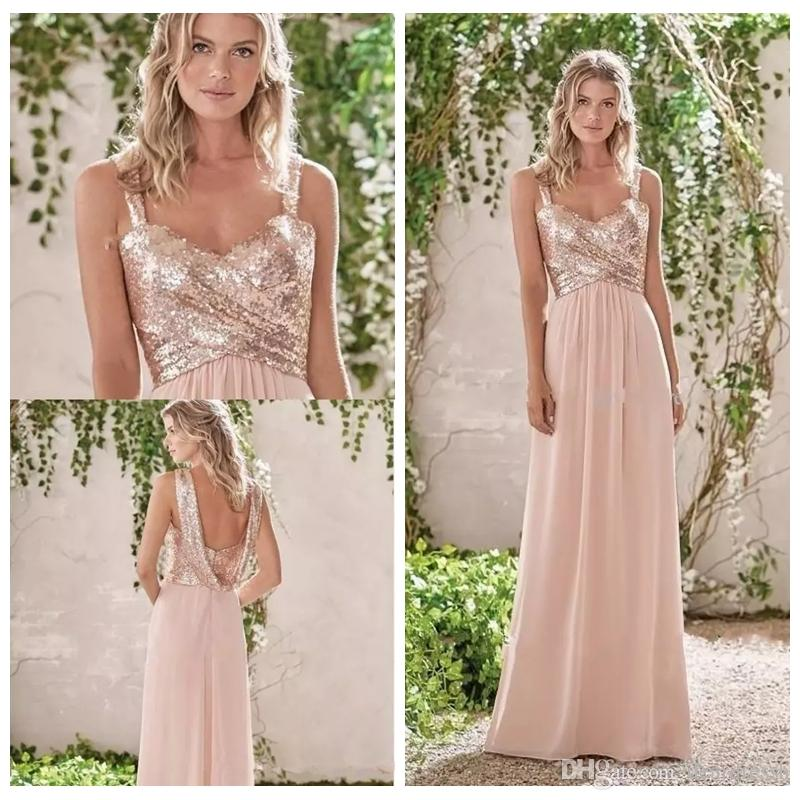 d2cfa1bbda4 2019 Bling Bling Rose Gold Spaghetti Straps Sequins Bridesmaid Dress Chiffon  Beach Long Party Dresses Wedding Guest Dress Honor Of Maid Dusty Pink ...