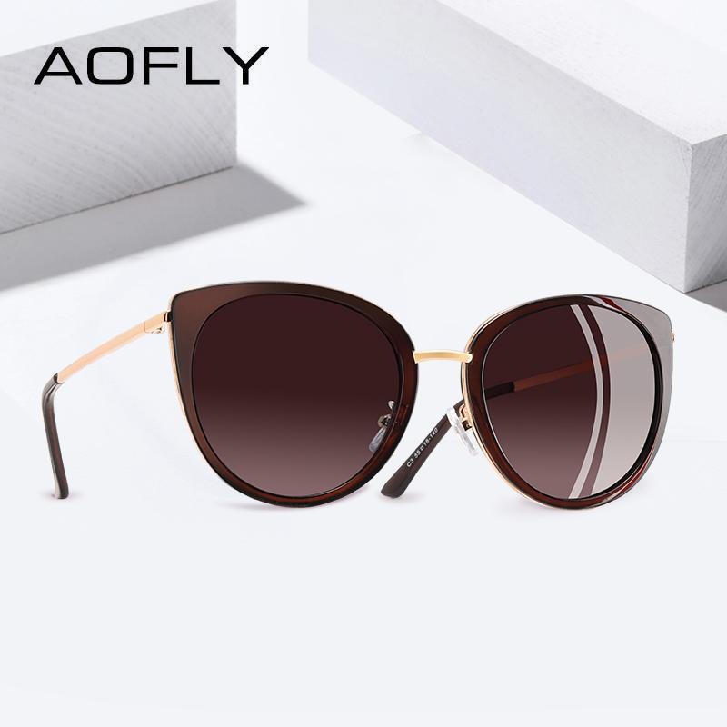 db16afd0b2 Compre Aofly 2019 Diseño De Marca Gafas De Sol Ojo De Gato Mujeres Vintage  Damas Polarizadas Gafas De Sol Mujer Tonos De Metal Gafas Gafas C19041901 A  ...