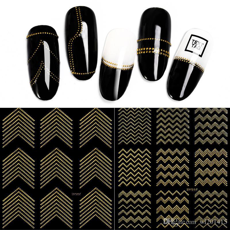 Gold Metal 3D Nail Stickers Stripes Wave Line DIY Nail Art Decals Manicure Adhesive Decal Water Slide Nail Tips Stickers accessories