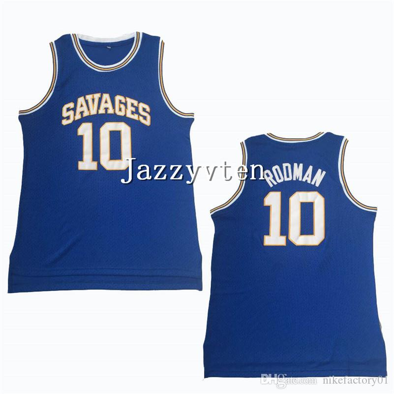 size 40 4895e bf41e High School Dennis Rodman College Jerseys 10 Basketball Oklahoma Savages  Jersey Men Color Blue White Green Breathable University Uniforms