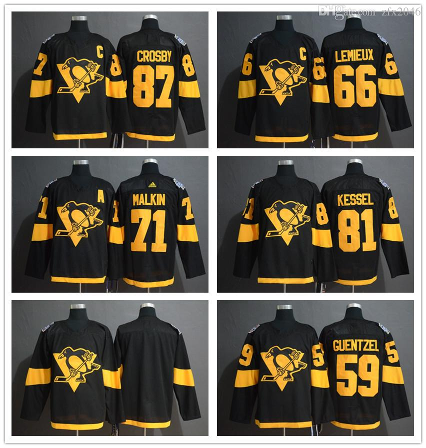 Men's 59 Jake Guentzel 87 Sidney Crosby 71 Evgeni Malkin 81 Phil Kessel 66 Mario Lemieux 2019 Stadium Series Black Player hockey Jerseys