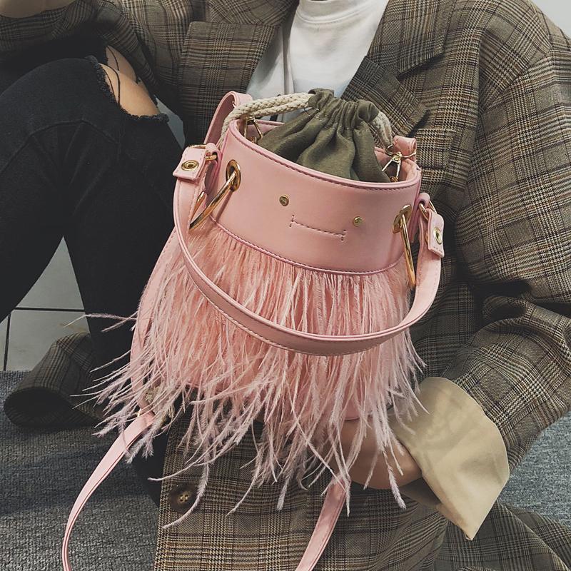 Sweet Lady Tote Bags Drawstring Bucket Bag 2019 New Quality Pu Leather  Women S Designer Handbag Feather Shoulder Messenger Bag Briefcase Leather  Backpack ... b7fd92849debd
