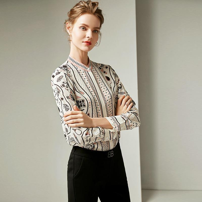 e84974cea8f3d6 2019 Spring Dress Women s New Fashion Round-neck Long-sleeved Silk ...