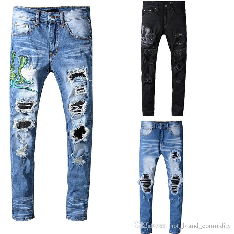 8c8ea3cf Amir Skinny jeans para hombres pantalones rotos con agujeros Pantalones  vaqueros Motociclista Biker Hombres Diseñador de la marca Hip Hop Jeans  para ...