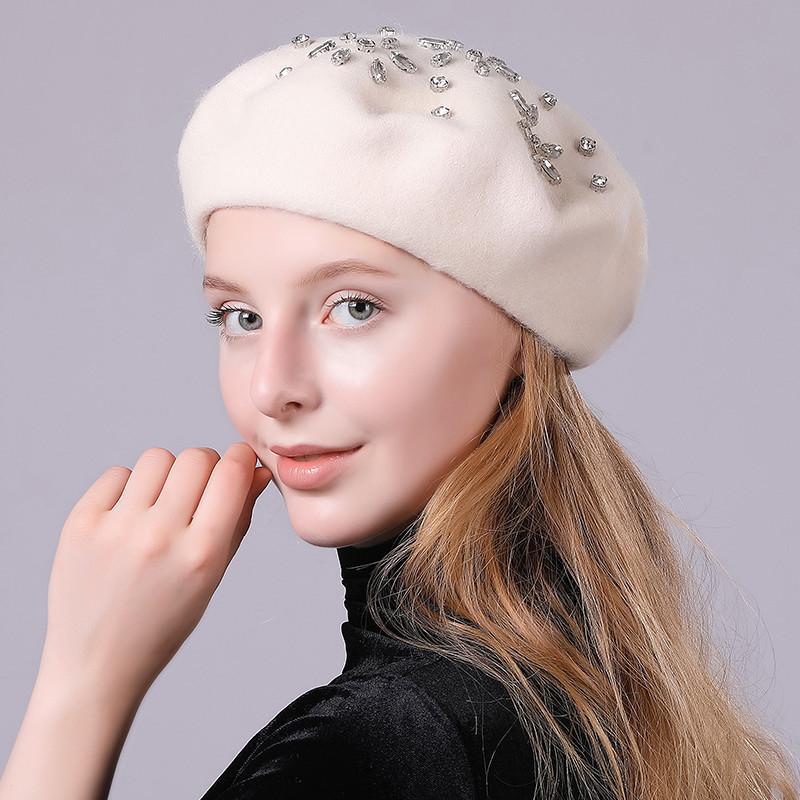 eeced0d63f619 Women Beret Hats Winter Solid Color Hat Diamonds Wool Felt Hat ...