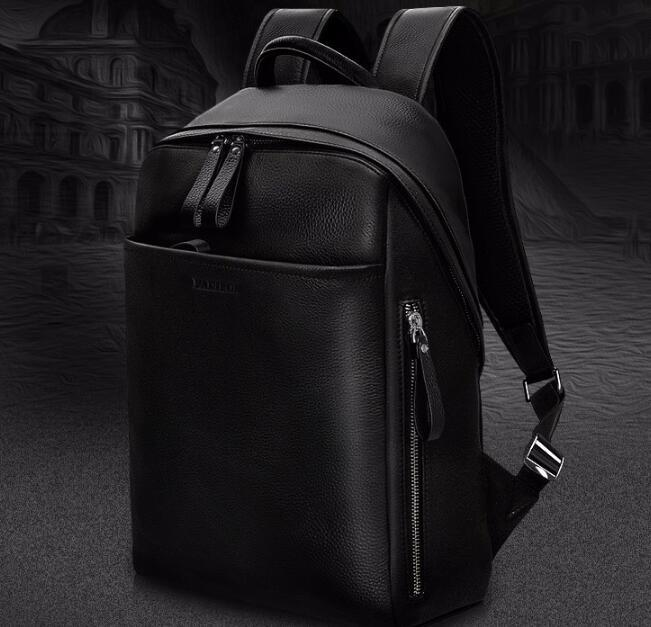 9a28edf8a56c Padieoe Genuine Leather Backpack For Man Real Cowhide Large Male Bckpack  Double Zipper Travel Rucksack Classic Unisex Black Bags Toddler Backpack  Kelty ...